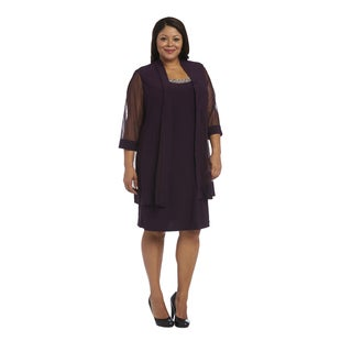 R M Richards Women's Purple Polyester and Spandex Plus-size Jacket Dress
