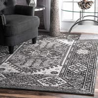 nuLOOM Distressed Tribal Grey Rug (7'6 x 9'6)