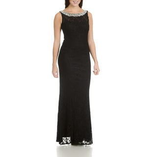 Cachet Women's Black All-over Lace, Pearl, and Rhinestone Long Evening Gown