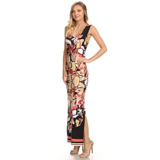 Women's Multicolored Polyester/Spandex Abstract Floral Maxi Dress