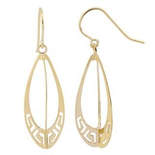 Fremada 14k Yellow Gold Greek Key Teardrop Drop Earrings