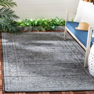 Safavieh Palazzo Light Grey Anthracite/ Navy Blue Distressed Area Rug - 5' x 8'