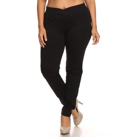 Women's Black Rayon/Nylon/Spandex Plus Size Slim-fit Pants
