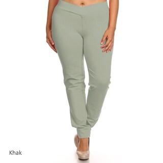 Women's Black Rayon/Nylon/Spandex Plus Size Slim-fit Pants (3 options available)