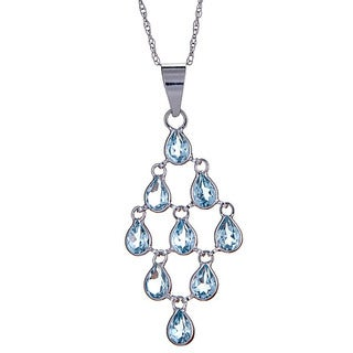 14k White Gold Blue Topaz Pendant Necklace