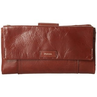 Fossil Ellis Brown Leather Clutch Wallet