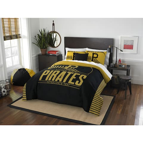 The Northwest Co MLB Pittsburgh Pirates Grandslam Black and Yellow Full/Queen 3-piece Comforter Set