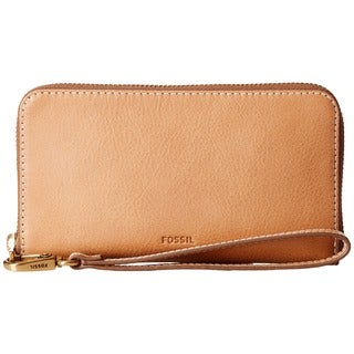 Fossil Emma RFID Tan Leather Smartphone Wristlet Wallet