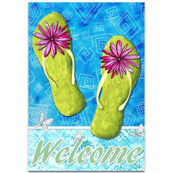 Shop Megan Duncanson Pink And Green Flip Flops