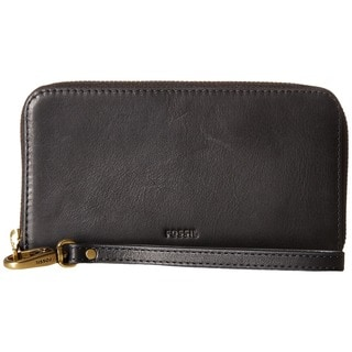 Fossil Emma Black Leather RFID Smartphone Wristlet Wallet