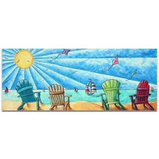 Megan Duncanson 'Beach Life v1' Beach Painting on Metal or Acrylic