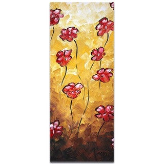 Megan Duncanson 'Floating Poppies' Impasto Flower Painting on Metal or Acrylic