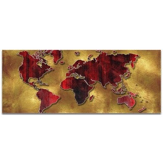 Megan Duncanson 'Golden World' Eclectic World Map on Metal or Acrylic