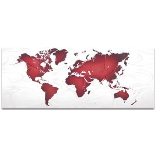 Eric Waddington 'Red White Land and Sea' Abstract World Map on Metal or Acrylic