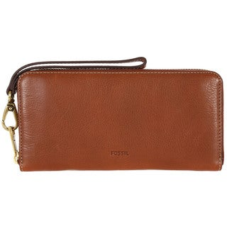 Fossil RFID Emma Brown Leather Large Zip Clutch Wristlet Wallet