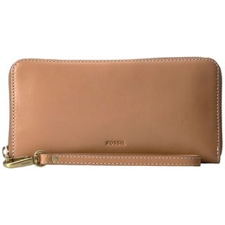 Fossil Emma RFID Tan Leather Large Zip Clutch Wristlet Wallet