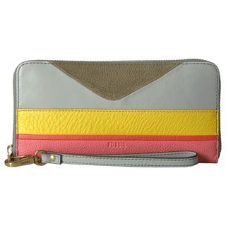 Fossil Emma Striped Leather RFID Large Zip Clutch Wristlet Wallet