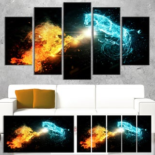Designart 'Fire and Water Abstract Horses' Extra Large Animal Artwork