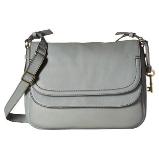 Fossil Peyton Grey Leather Double-flap Crossbody Handbag