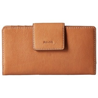 Fossil Emma RFID Tan Leather Tab Clutch Wallet