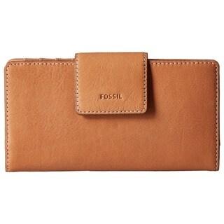 Fossil Emma RFID Tan Leather Tab Clutch Wallet