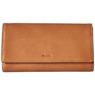 Fossil Emma Tan Leather RFID Flap Wallet
