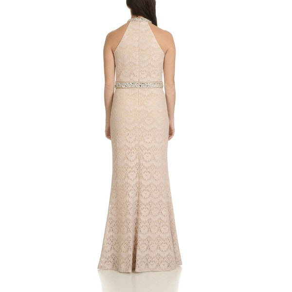 Cachet Womens Long Sleeve Embellished Beaded and Lace Gown