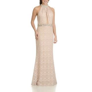 Cachet Women's All-over Lace-embellished Halter Long Champagne Polyester/Spandex Evening Gown