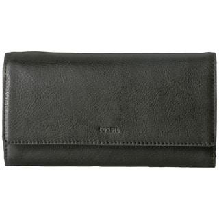Fossil Emma RFID Black Leather Flap Wallet