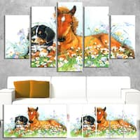 Designart 'Relaxing Brown Cute Horse' Extra Large Animal Artwork