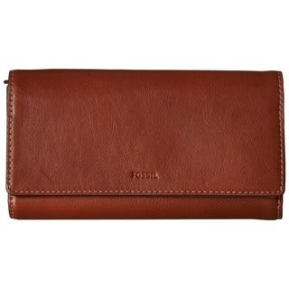 Fossil Emma RFID Brown Leather Flap Wallet