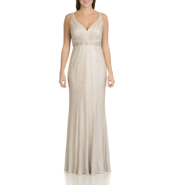 Cachet Women's Metallic Sequin and Bead Embellished Evening Gown