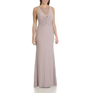 Cachet Women's Rhinestone and Beaded Illusion Neckline Long Evening Gown