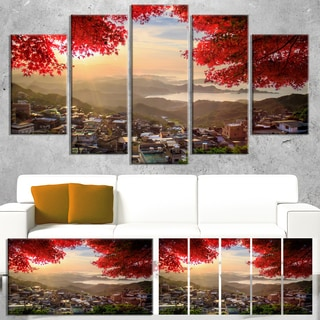 Designart 'Taiwan Township with Red Trees' Large Landscape Canvas Art