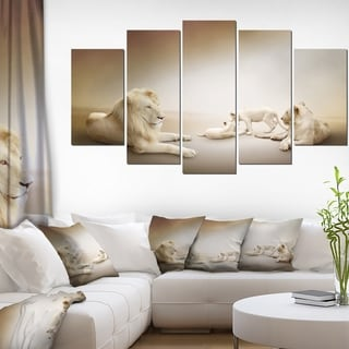 Designart 'White Lion Family' Large Animal Art on Canvas