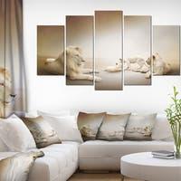 Designart 'White Lion Family' Large Animal Art on Canvas