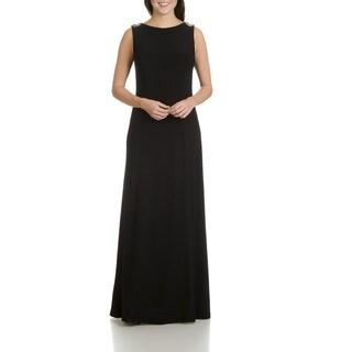 Cachet Women's Beaded Drape Back Long Evening Gown