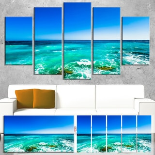 Designart 'Seashore with Clear Water and Sky' Modern Seashore Canvas Art