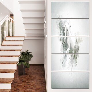 Designart 'Graceful White Horse' Large Animal Art on Canvas