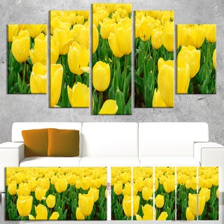 Designart 'Bright Tulip Flowers in Garden' Flower Canvas Print Artwork