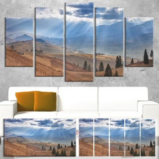 Designart 'Beautiful Mountain Village View' Large Landscape Canvas Art