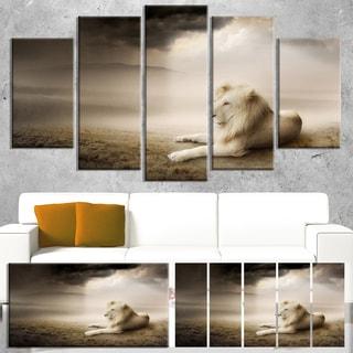 Designart 'King of Animals At Sunset' Large Animal Art on Canvas