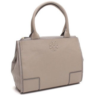 Tory Burch Ella French Grey Canvas and Leather Mini Tote Bag