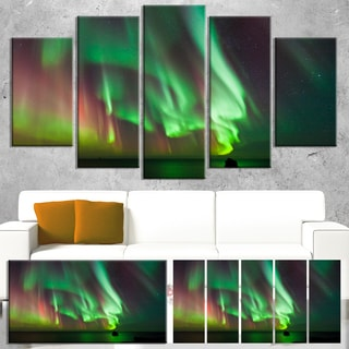 Designart 'Green Northern Lights Aurora' Large Abstract Canvas Wall Art