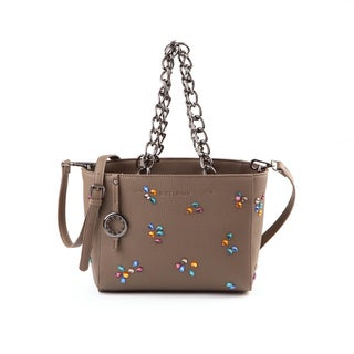 Suzy Levian Pebbled Faux Leather Rhinestone Satchel Handbag - M