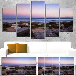 Designart 'Maroubra Beach at Sunset Panorama' Modern Seashore Canvas Art