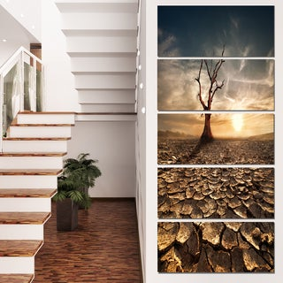 Designart 'Lonely Dead Tree in Cracked Land' Large Landscape Canvas Art
