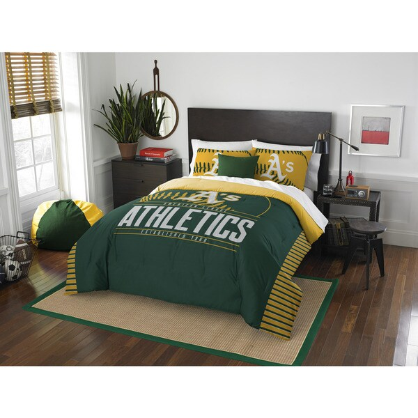 The Northwest Co MLB Oakland Athletics Grandslam Green/Yellow Full/Queen 3-piece Comforter Set