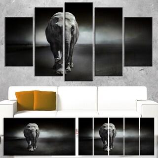 Designart 'Large Elephant on Black' Large Animal Art on Canvas