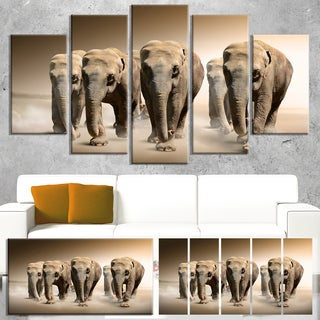 Designart 'Walking Herd of Elephants' Large Animal Art on Canvas